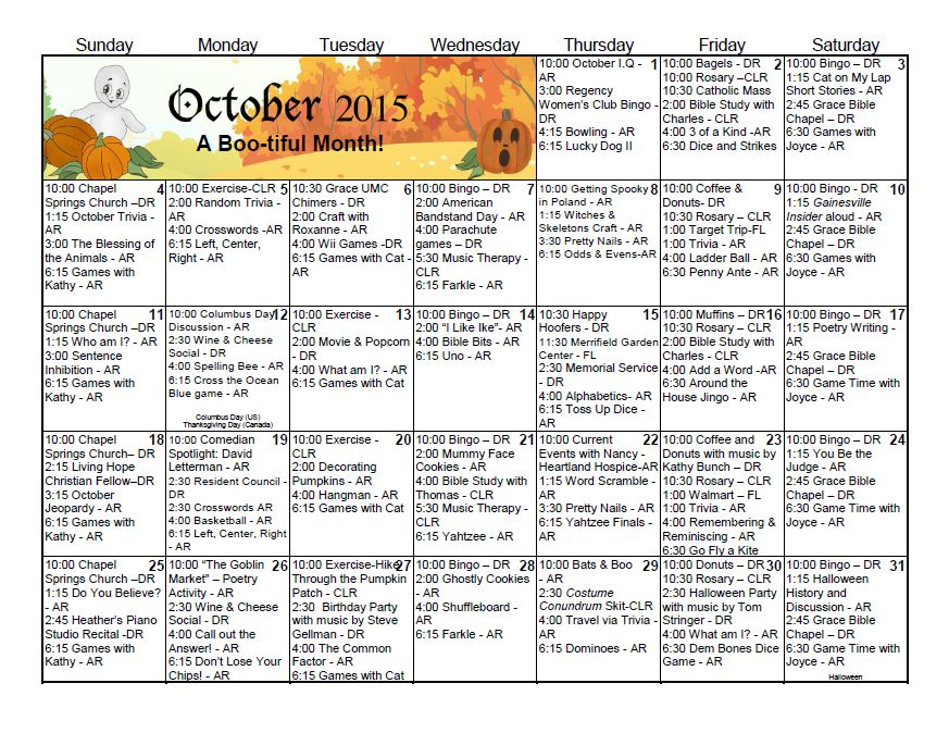 Gainesville Health & Rehab Center | Activity Calendar – October