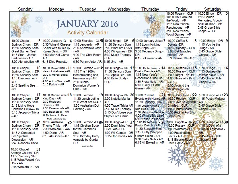 Gainesville Health & Rehab Center | Activity Calendar – January