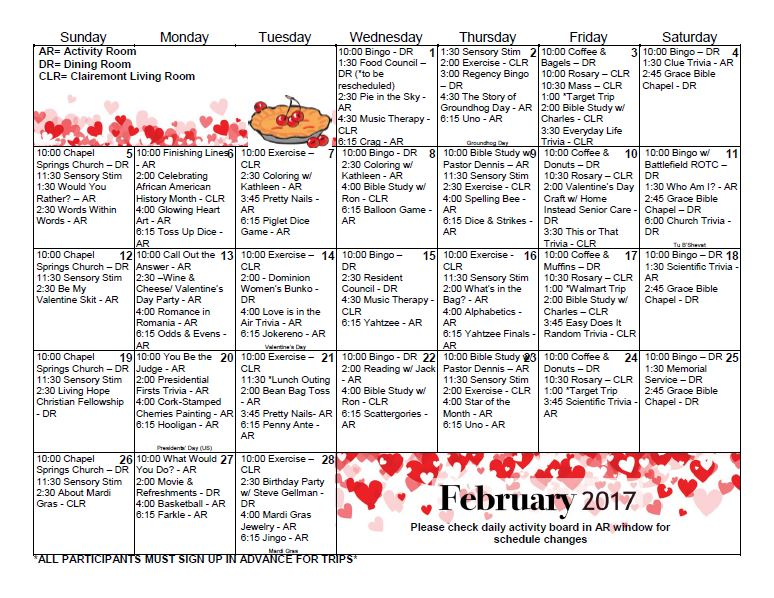 Gainesville Health & Rehab Center | Activity Calendar – February