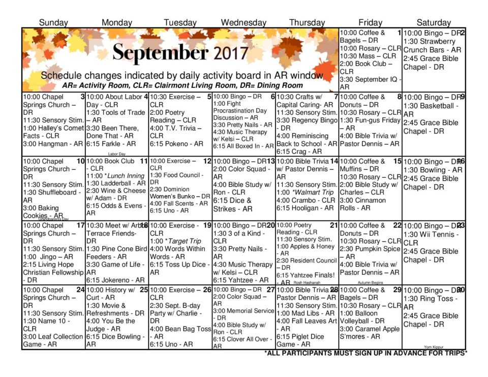 Gainesville Health & Rehab Center | Activity Calendar – September